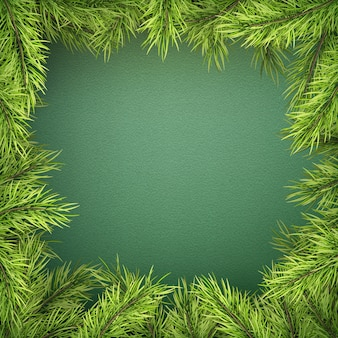 Carte avec bordure d'arbre de noël, cadre de branches de sapin réaliste sur fond vert.