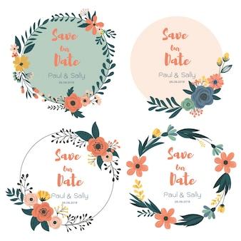 Carte botanique avec des fleurs sauvages, des feuilles. couronnes florales, inviter. salutation décorative de vecteur