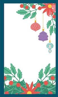 Carte de branches de feuillage poinsettia joyeux noël fleurs