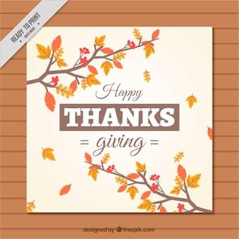Carte branches thanksgiving avec des feuilles sèches
