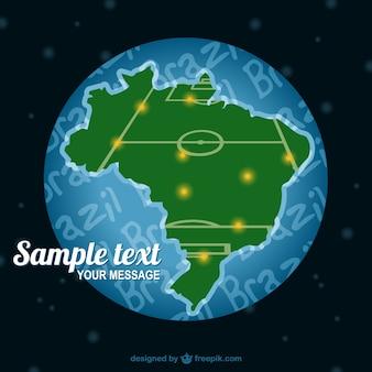 Carte brésil terrain de soccer vecteur