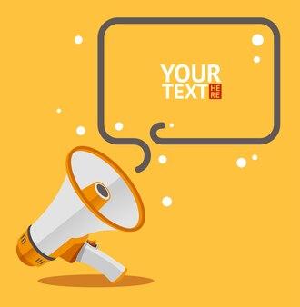 Carte de bulle de texte mégaphone. design plat.