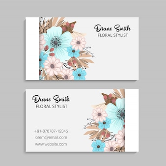 Carte de bussiness de beau design floral. illustration vectorielle
