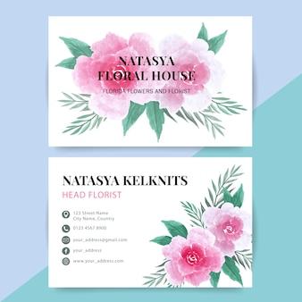Carte de bussiness avec fond aquarelle de fleur rose