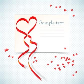 Carte-cadeau d'amour de vacances vierge avec champ de texte et ruban coeur rouge