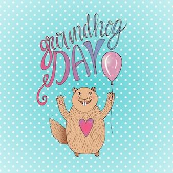 Carte-cadeau groundhog day. hamster souriant dessiné à la main