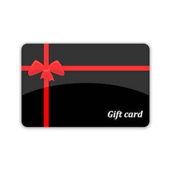 Carte-cadeau avec noeud rouge et rubans
