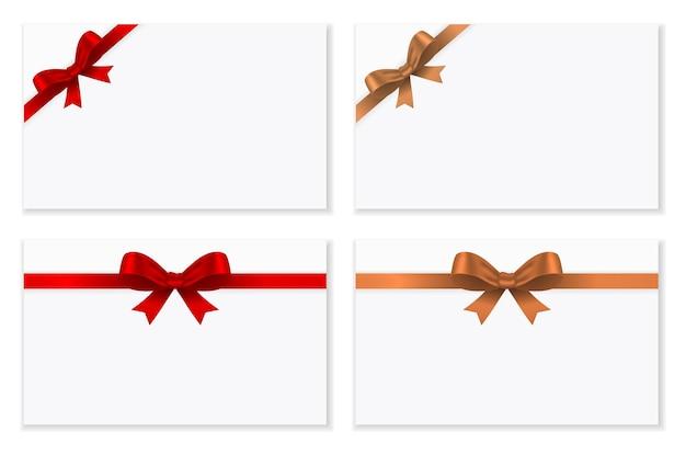 Carte-cadeau avec noeud et ruban en or rouge