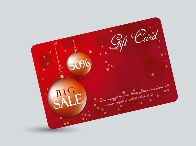 Carte-cadeau rouge avec illustration vectorielle de boules de noël