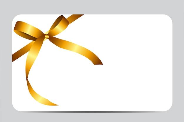 Carte-cadeau avec ruban d'or et noeud. illustration vectorielle eps10