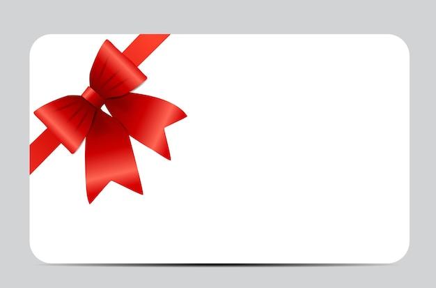 Carte-cadeau avec ruban rouge et noeud. illustration vectorielle eps10