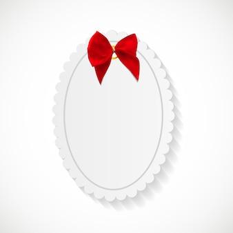 Carte-cadeau avec ruban rouge et noeud. illustration