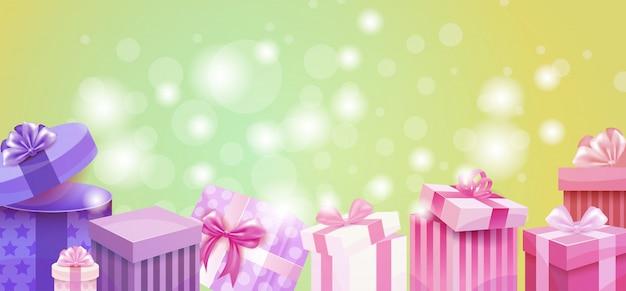 Carte-cadeau de la saint-valentin, cadeau de vacances, amour, présent, boîte colorée, bannière