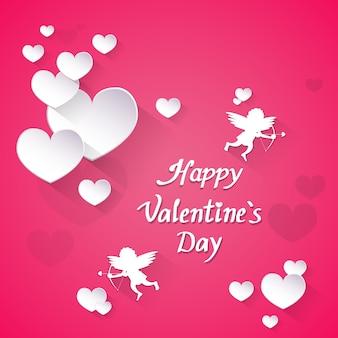 Carte-cadeau de saint-valentin rose en forme de coeur, amour des anges