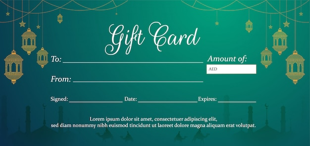 Carte-cadeau verte horizontale ou format de bon d'achat pour festiva islamique