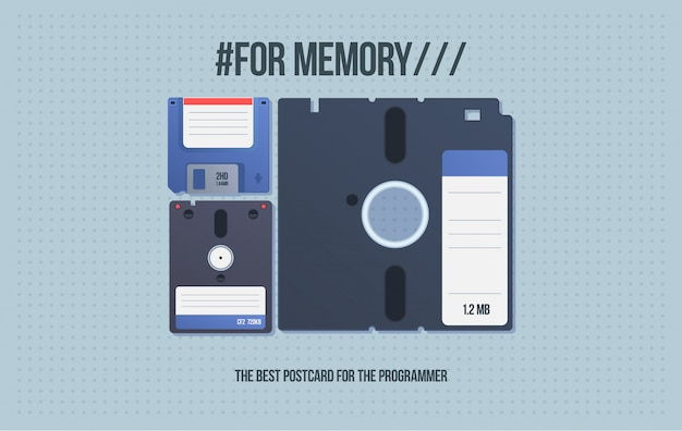 Carte-cadeau avec les vieux médias. disquette et disquette. supports informatiques en style cartoon.