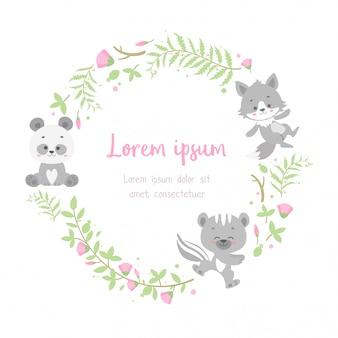 Carte de cadre animal floral mignon