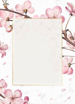Carte de cadre de fleurs de cerisier