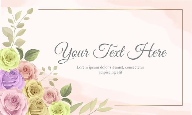 Carte de cadre floral dessiné à la main
