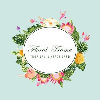 Carte de cadre floral - fleur tropicale vintage