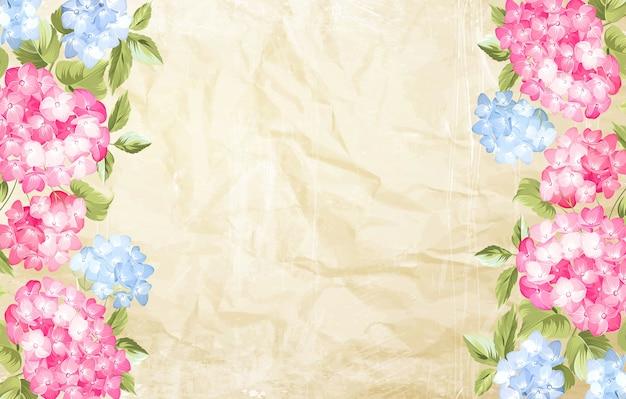 Carte de cadre hortensia en fleurs.