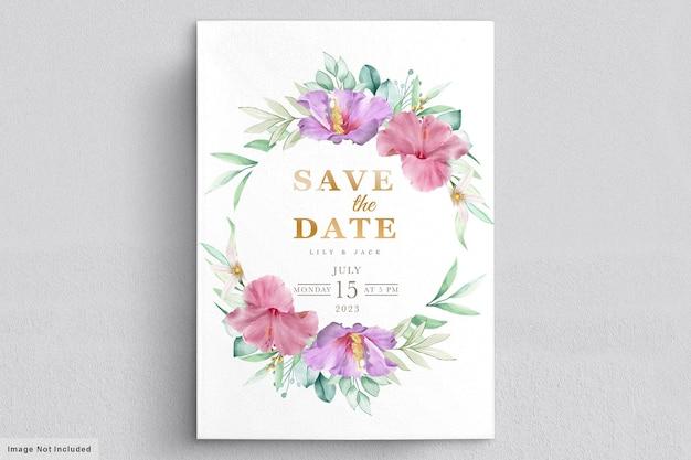 Carte de cadre de mariage floral en fleurs