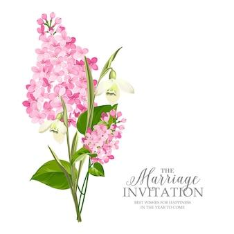 Carte de cadre de mariage avec lilas en fleurs.