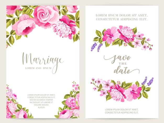 Carte de cadre de mariage rose et lavande en fleurs.