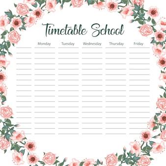 Carte de calendrier scolaire créative avec arche de fleur et feuilles