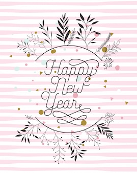 Carte de calligraphie de bonne année avec couronne de feuilles