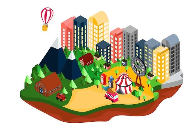 Carte de campagne de banlieue d'illustration de style isométrique avec marché de nuit