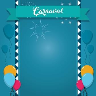 Carte de carnaval heureux avec des éléments décoratifs
