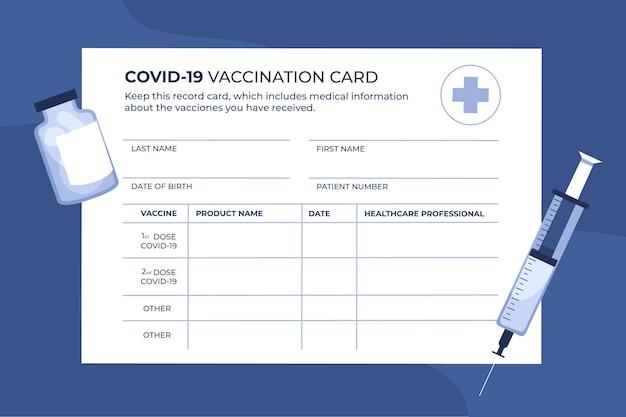 Carte de carnet de vaccination contre le coronavirus