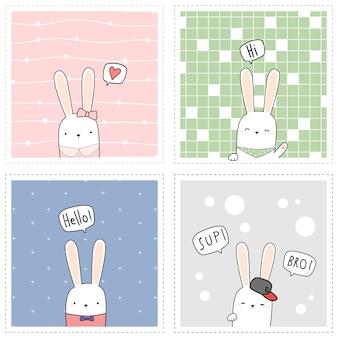 Carte carrée de lapin mignon