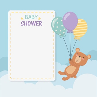 Carte carrée de shower de bébé avec peluche et oursons en peluche