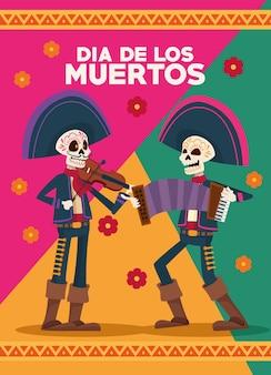 Carte de célébration dia de los muertos avec squelettes mariachis et fleurs