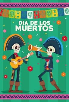 Carte de célébration dia de los muertos avec squelettes mariachis et guirlandes