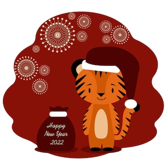 Carte de célébration du nouvel an 2022 avec tigre et cierge magique