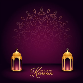Carte de célébration du ramadan kareem avec des lanternes islamiques réalistes