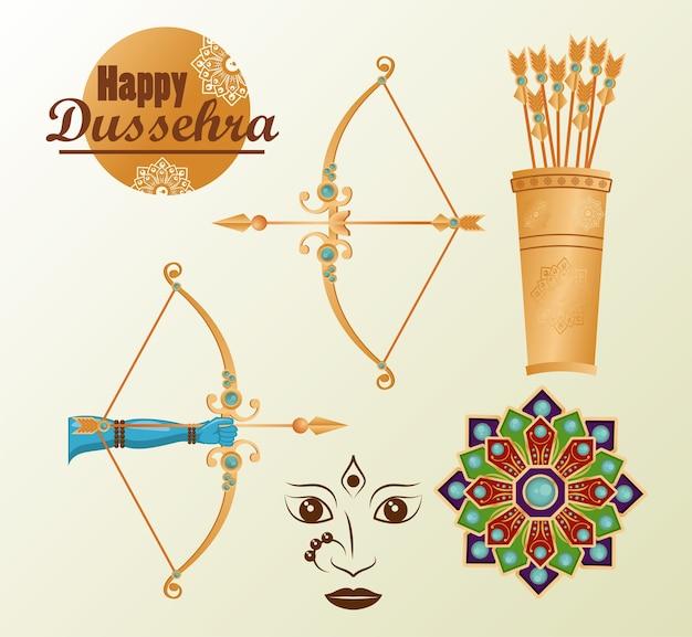 Carte de célébration de dussehra heureux avec lettrage abd définir des icônes.