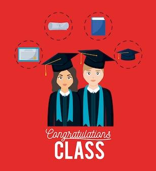 Carte de célébration de graduation avec couple et set d'icônes