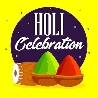 Carte de célébration holi avec dhol et gulaal