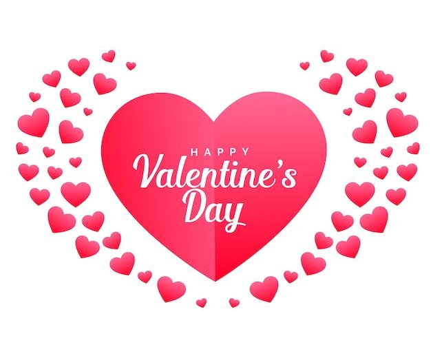 Carte de célébration joyeuse saint valentin faite avec des coeurs