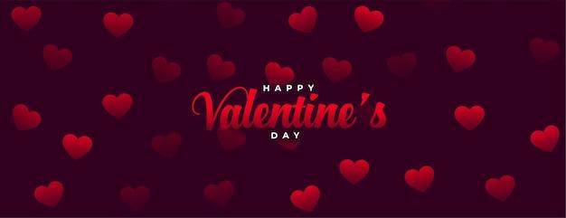 Carte de célébration joyeuse saint valentin avec des motifs de coeurs