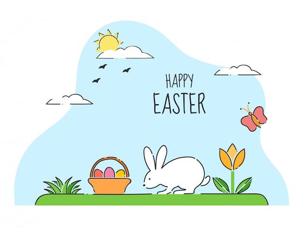Carte de célébration de joyeuses pâques avec un lapin mignon marchant et un panier d'oeufs sur la vue sur le jardin du soleil