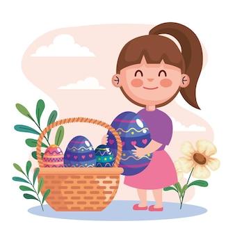 Carte de célébration joyeuses pâques avec petite fille soulevant des oeufs dans la conception d'illustration de panier