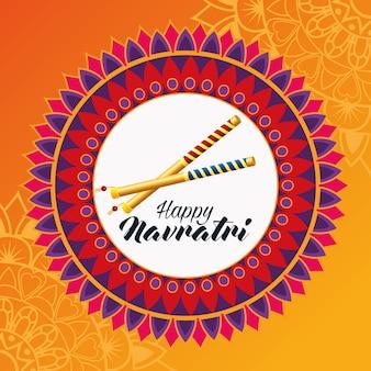 Carte de célébration joyeux navratri avec bâtons et mandala
