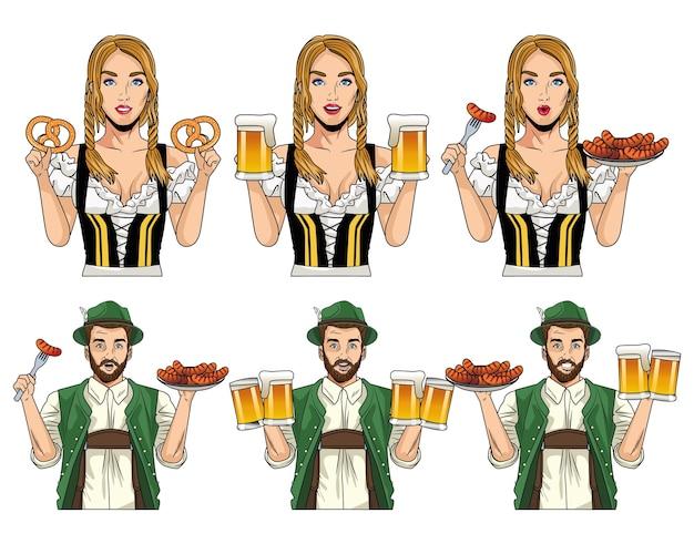Carte de célébration de l'oktoberfest avec des allemands avec de la nourriture et des bières