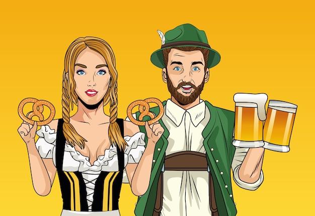 Carte de célébration de l'oktoberfest avec couple allemand soulevant des bières et des bretzels