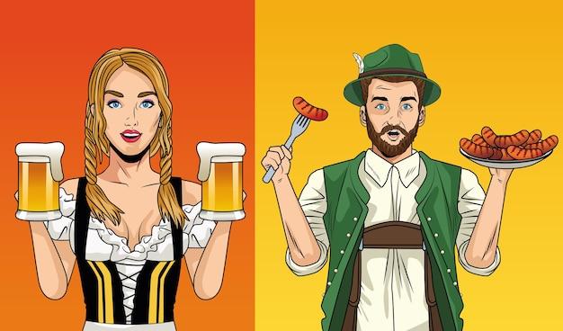 Carte de célébration de l'oktoberfest avec couple allemand soulevant des bières et des saucisses